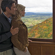 Couple enjoying foliage from Hueblien Tower, Simsbury