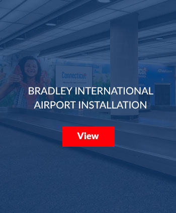 The Office of Tourism has an ongoing relationship with Bradley Airport, allowing tourism messaging to cover every possible inch of wall space in the baggage claim area. This permanent installation features 13 different experiences covering all 4 seasons.