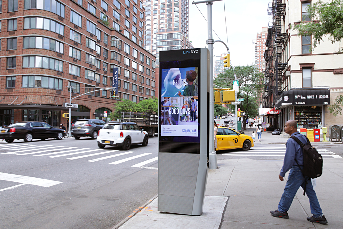 In summer 2018, digital kiosks all over Manhattan each featured a series of 20 different ads promoting 40 different attractions.