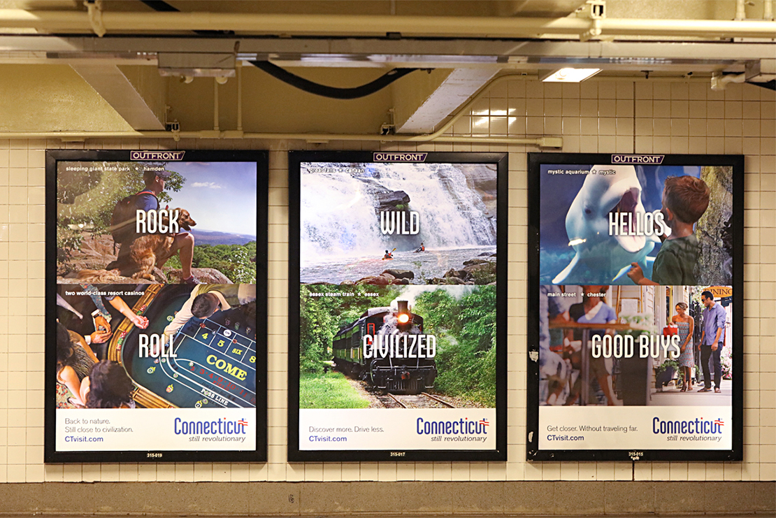 The Station Domination at Columbus Circle Station, summer 2018, featured 20 different ads promoting 40 different attractions on every possible surface, including the turnstiles.